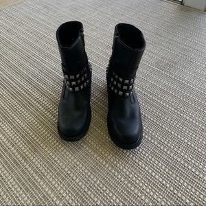 Black Leather Harley-Davidson Boots, W SIZE 7M